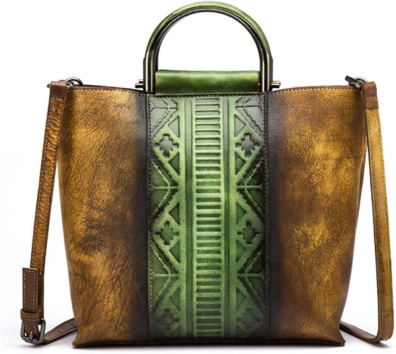 Jiuyizhe Vintage Echtleder Cross Body Bag für Frauen handgemachte Tote Geldbeutel Schulranzen (Farbe   Grün Gelb) B07JWFMJJM