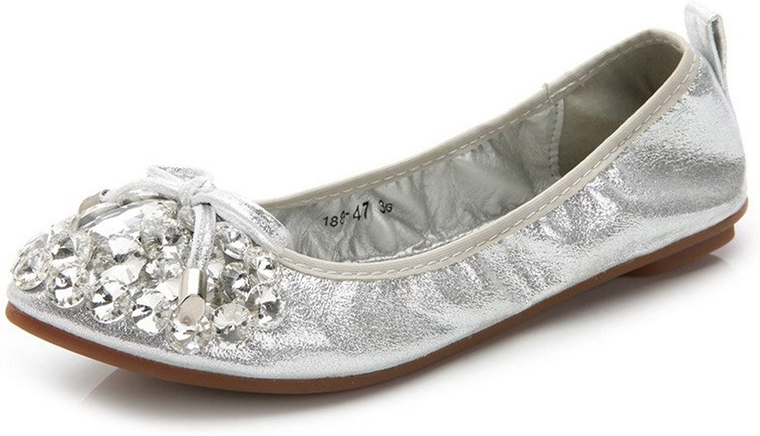 AmoonyFashion Women's Frosted Pull On Pointed Closed Toe No Heel Solid Flats-shoes
