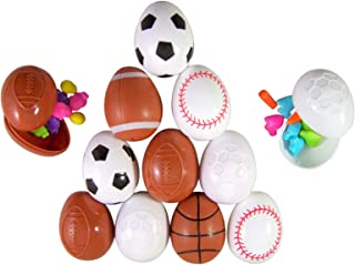 Sport Soccer, Football, Basketball, and Baseball Toys Prefilled with Candy, Pack of 12