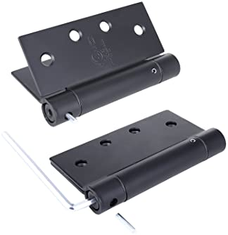 Pack of 3 - Residential Spring 4 Inch Door Hinge - Reversible - Black Finish - Squared Corners - Self Closing - by De...