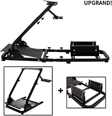 Minneer Racing Steering Wheel Stand Simulator Cockpit Height Adjustable Gaming Wheel Stand Compatible for T500, FANTEC, T3PA/TGT, G25, G37, G29/T300RS Wheel & Pedals Not Included(with Seat Frame)