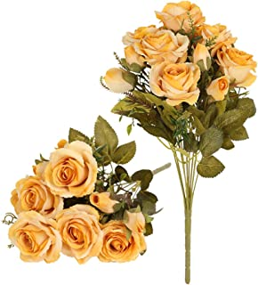 Tifuly Artificial Silk Rose Flowers Bouquets,Faux Roses Bouquet Fake Flowers with 9 Branch 12 Heads Arrangement for Wedding Party Home Office Restaurant Decoration,2 Bunchs/Pack(Yellow)