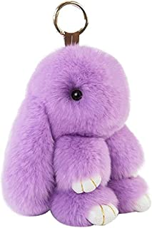 Lovely Rabbit Pendant Soft Fluffy Rabbit Bunny Doll Car Keychain Charm Key Ring Handbag Pendant Decor Best Cute Gift for Families Friends