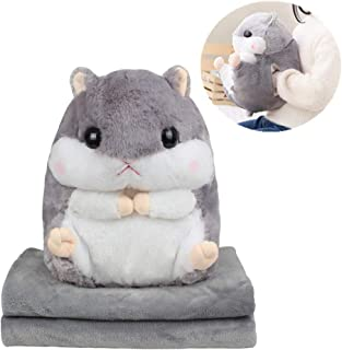 AQUEOUS Cute Hamster Plushed Pillow 3 in 1 Stuffed Hamster - Plush Car Pillow Air Conditioning Blanket with Hand Warmer 39 x 67 Inch