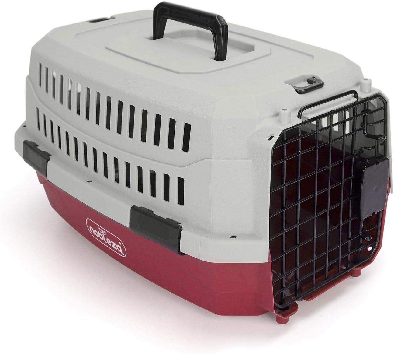 Nobleza - Transportin Gato Perro Grande, Transportin para Gatos Perro Portátil y Transpirable, Mascotas Perros Gatos Accesorios, Transportín de Plástico, 68x48x42 CM, Rojo & Gris