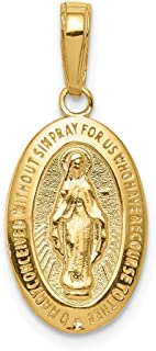 14k Yellow Gold Miraculous Medal Pendant Charm Necklace Religious Fine Jewelry Gifts For Women For Her