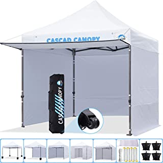 CASCAD CANOPY 10' x10' Ez Pop-Up Canopy Commercial Instant Tent Shelter with DIY Banner, Heavy Duty Roller Bag, 4 Removable Sidewalls, 1 Canopy Awning, 4× Sandbags,White
