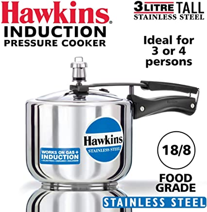 Hawkins Stainless Steel 3L (Tall Model) Pressure Cooker with Induction Compatible Base (B33), Silver (HWS_B33_SIR)
