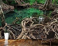 3D壁紙美しい神秘的な森の沼自然3D壁紙壁画、リビングルームテレビ壁寝室壁紙家の装飾,250(W)*175(H)Cm
