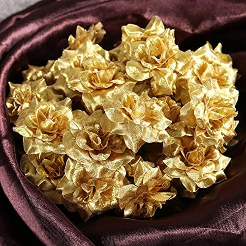 ENISHCHY 50 stücke Silk Rose Blütenköpfe Für Hut Kleidung Album Verschönerung 4.5cm (Color : Golden)