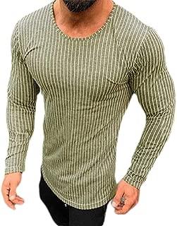 Cromoncent Mens Casual Vertical Stripe Long Sleeve Crewneck Tops Tees T-Shirts
