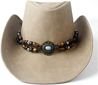 SHENTIANWEI Women Men Leather Cowboy Hat 100% Leather Roll Up Outblack Turquoise Jazz Fedpra Cowgirl Cap