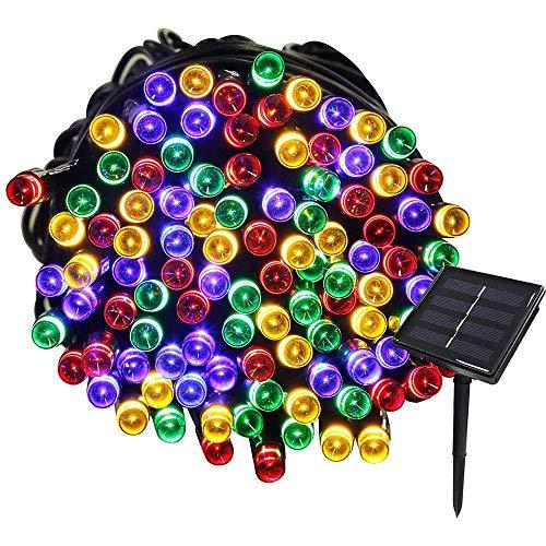 Cadena de luces solares, impermeable, 72 pies, 22 m, 200 LED, 8 patrones intermitentes, luces de hadas al aire libre para jardín, césped, fiesta, boda, decoración navideña (multicolor), iluminación n