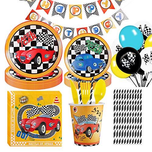 Amycute Rennwagen Partyzubehör Set, 138 Stücke Rennauto Party Geschirr Set mit Banner Teller Becher Servietten Luftballons und Gabellöffel zum Thema Rennwagen Party Zubehör.