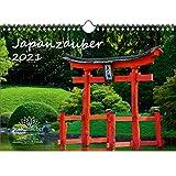 Calendario 2021 de Japanzauber, DIN A4, diseño de ciudad japonesa y tierra – Set de regalo contenido: 1 x calendario, 1 x tarjeta de felicitación (3 piezas en total)