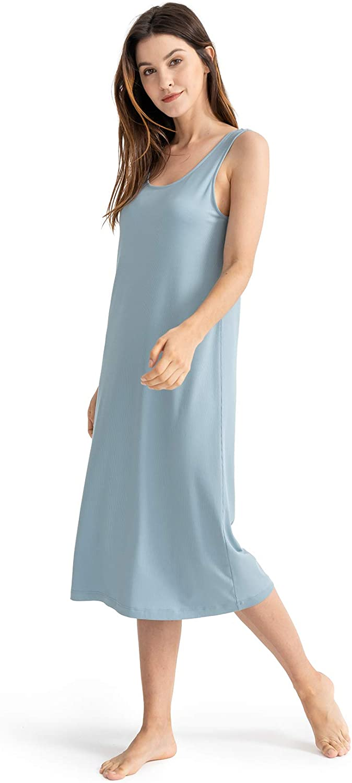 Femofit Women's Nightgown Long Nightshirt Modal Sleeveless Tank Nightdress Sexy Negligees Lingerie Full Slip Sleepwear S-XL