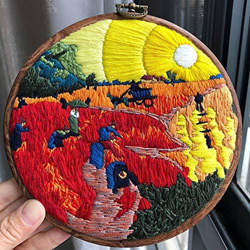 Full Range Van Embroidery Starter Kit Met Bloemmotief Bamboo Borduurringen, Kleur Draden, Borduren Doek, Borduurnaald, Kit Tool Kit Voor Beginners