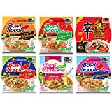 Nongshim Bowl Instant Noodle Soup Assorted Bundle Sampler   6 Flavors: Shin Bowl, Lobster, Spicy Shrimp, Spicy Kimchi, Spicy Chicken, Hot & Spicy (6 - Pack)