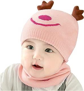 Baby Boys Girls Christmas Knitted Crochet Beanie Cap Lovely Rabbit Reindeer Ear Soft Hat Scarf 2PCS Sets
