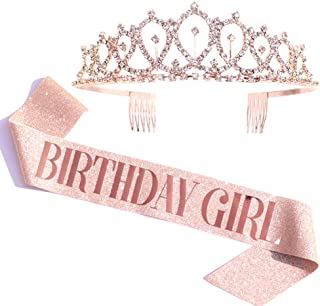 Birthday Girl Sash & Rhinestone Tiara Kit - Rose Gold Birthday Gifts Glitter Birthday Sash Birthday Party Favors