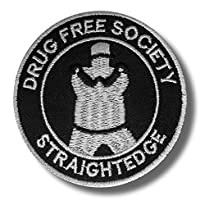 Straight edge - embroidered patch drug free society 8 x 8 cm