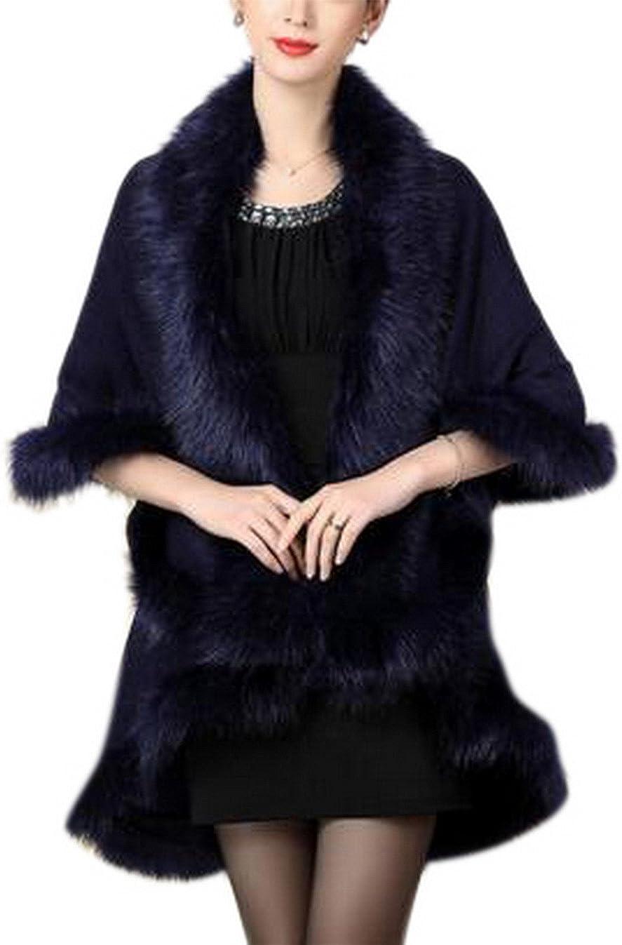GESELLIE Women's Plus Size Knitted Faux Fur Double Layer Shawls Cape Cloak Coat Outerwear