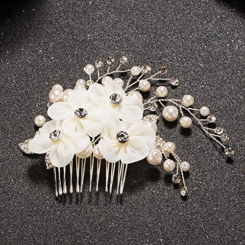 ASDAHSFGMN Nuptiale Accessoires Cheveux Floral Side Mariage Peigne Cheveux de mariée Mariage Accessoires Accessoires Cheveux Peigne Fleur Nuptiale Headpiece (Metal Color : Silver Plated)