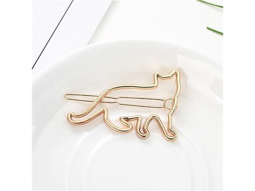 豚刈り取る重大Osize 美しいスタイル 子猫クリップワンワードヘアピンサイドクリップヘアピンヘアアクセサリー(ゴールデンキャット)