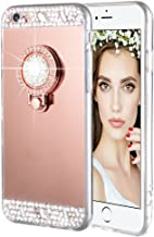 Caka iPhone 6 6S Case, iPhone 6S Glitter Case Rhinestone Series Luxury Cute Shiny Bling Mirror Makeup Case for Girls with Ring Kickstand Diamond TPU Case for iPhone 6 6S (Rose Gold)