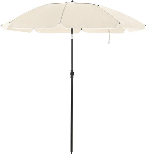 SONGMICS Sonnenschirm für Strand, Ø 160 cm, Gartenschirm, UV-Schutz bis UPF 50+, knickbar, Sonnenschutz, tragbar, Schirmrippen aus Glasfaser,…