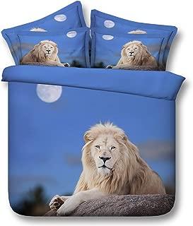 BJGCWY Duvet Set 3D Animal Hd Digital Printing Effect is Set White Lion King Four-Piece Suit,79 X 90(inch)