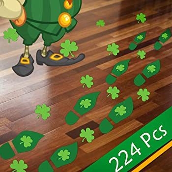 Patricks Day Window and Party Decorations 8 Sheets CCINEE 224pcs Leprechaun Footprint Floor Stickers Self-Adhesive Gold Coin Decals Stickers for St