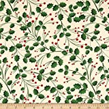Santee Print Works Christmas Folige Green Beige Fabric by The Yard