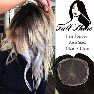 Full Shine Hair Topper For Women With Clips Ombre Color Lace Front 10 inch Ombre Color #2 Fading to #613 13x13 CM Straight Hair Remy Hair For Women