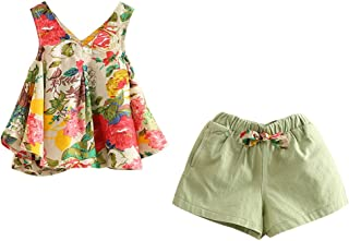 LittleSpring Girls Outfits Holiday Shorts and Tops Floral Clothes Set
