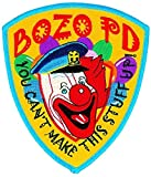 BOZO PD (Iron-On) Patch, 4-1/8 X 5 - Collector Patch, Bozo Police Funny Costume Police Sheriff Security Shield Logo Jacket Uniform Patch Military Patch - Sold by Uniform World