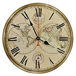 Old Oak 14-Inch Classic Retro World Map Decorative Wall Clock Silent Non-Ticking Round for Kitchen Living Room Bathroom Bedroom Wall Home Decor with Roman Numerals