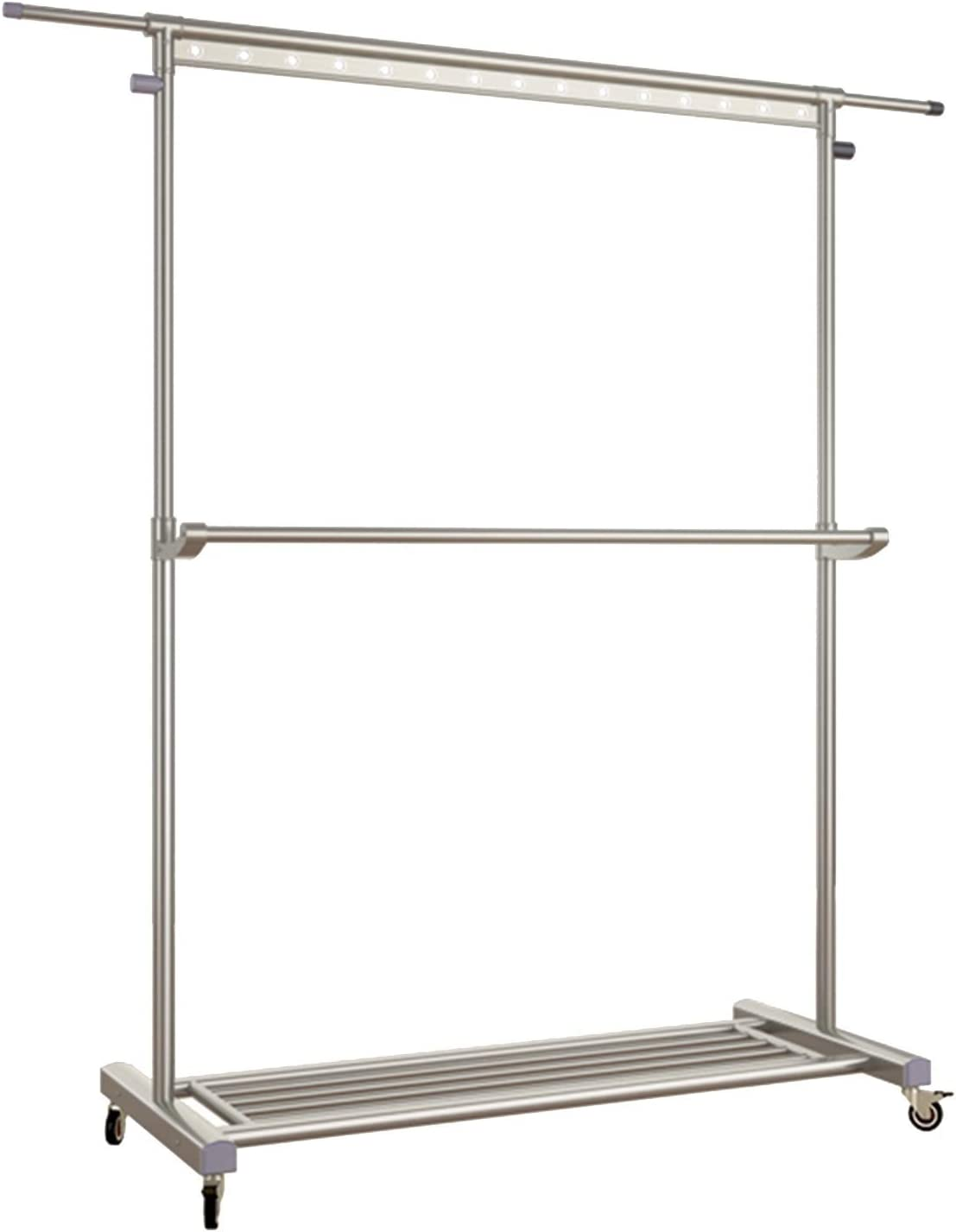 Garment Rack Rolling Clothes Drying 4 years warranty security with Side Ba Extendable