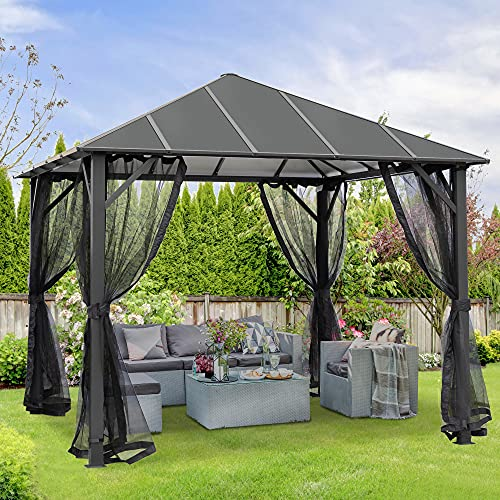 AsterOutdoor 10x10 Outdoor Insulated Hardtop Gazebo for Patios, Aluminum Composite Panel Roof for Shade and Rain Metal Frame with Mosquito Netting for Lawn, Backyard and Deck, 10' x 10', Charcoal Gray