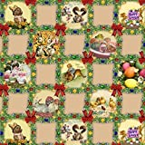 Mantel Hule Por Metro Pascua Huevos Pascua Conejo de Pascua TAMAÑO Y diseño SELECCIONABLE en Ovalado Rectangular Redondo - k836-3, 120 cm rund