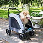 Dog Stroller For Large Pet Jogger Stroller For 2 Dogs Breathable Animal Stroller With 4 Wheel And Storage Space Pet Can Easily Walk In/Out Travel Up To 120 Lbs(55kg) 18
