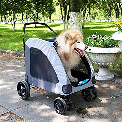 Dog Stroller For Large Pet Jogger Stroller For 2 Dogs Breathable Animal Stroller With 4 Wheel And Storage Space Pet Can Easily Walk In/Out Travel Up To 120 Lbs(55kg) 9