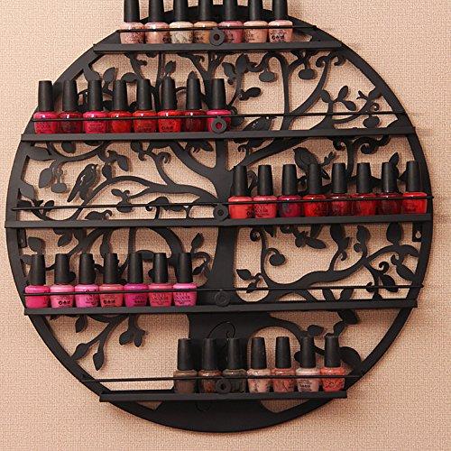 Nagellack Rack Halter ätherisches Öl Organizer Wand montiert 5 Etagen Baum Silhouette rund Metall Salon Art Wand Display von aishn schwarz