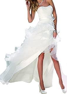 Wedding Dresses Prom Gowns Hi Lo Organza Ruffles Beach Party
