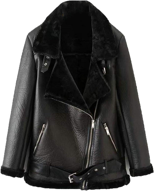 Sayhi Women Oblique Zipper Faux Fur Lapel Faux Leather Moto Biker Jacket Parka Coat