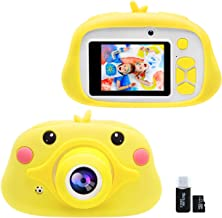 Kids Digital Camera Gifts for 4-9 Years Old Girls Boys, Selfie Mini Video Learning Toy Camera, Children Birthday Christmas Shockproof Cartoon Yellow Duck Soft Silicone Cover Cameras with 16GB TF Card