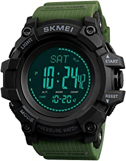 Men Digital Sports Smart Watches with Compass Pedometer Altimeter Barometer Military Waterproof Wristwatch with Leather Band