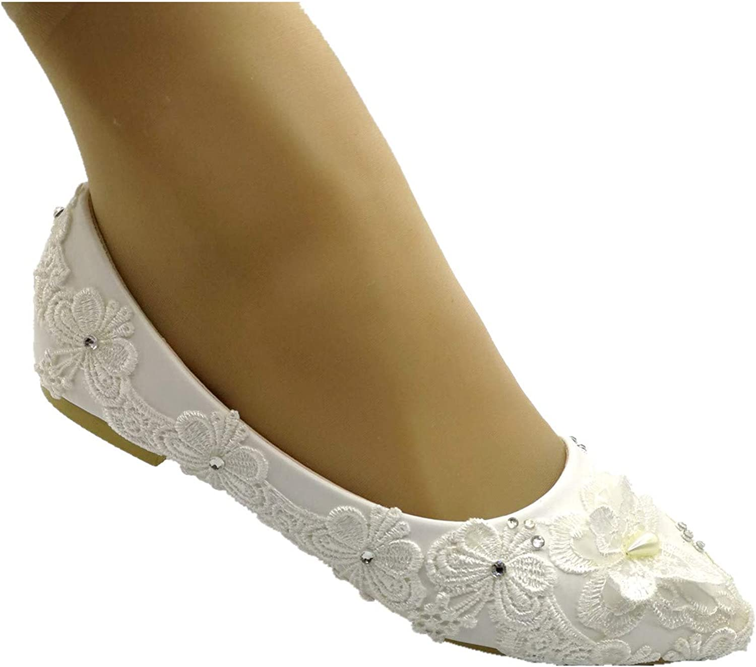 LACE ELEMENTS Handmade Wedding shoes Ballet Flats with Ribbon Low Heel shoes Bridal Flat shoes Bridesmaids Gift