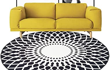 European Black and White Round Carpet Living Room Coffee Table Sofa Bedroom Bedside Carpet, A Variety of Sizes Hyococ (Color