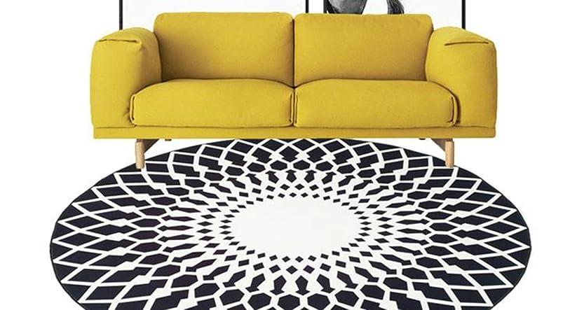 請求書吸う南アメリカQYSZYG ヨーロッパスタイルの黒と白のラウンドカーペットのリビングルームのコーヒーテーブルソファベッドルームのベッドサイドカーペット じゅうたん (色 : ブラック, サイズ さいず : 120)